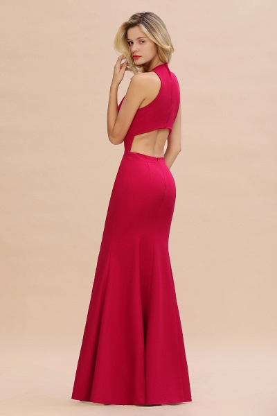 Red Mermaid Halter Prom Dress Long Evening Gowns_6
