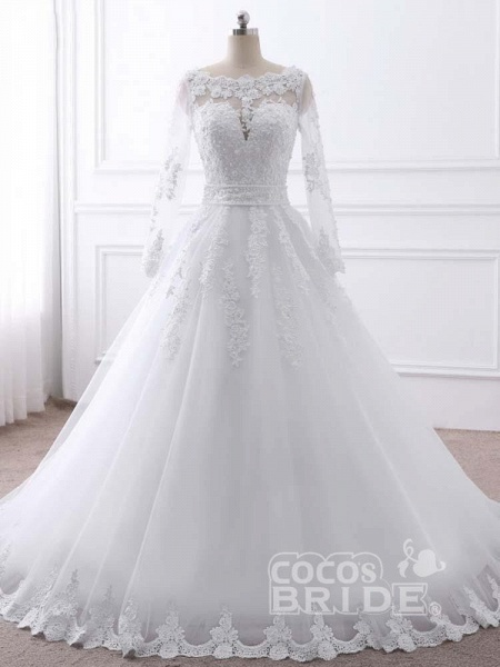 Long Sleeves Lace Ribbon Ball Gown Wedding Dresses_4