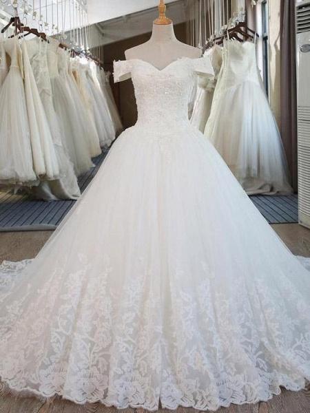 Elegant V-Neck Ball Gown Wedding Dresses Appliques Beaded Court Train_1