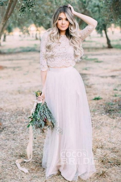 Two Piece Tulle Floor Length Lace Rustic Wedding Dress with Sleeve_2