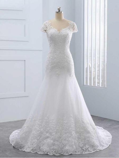 Cap Sleeves Lace Mermaid Tulle Wedding Dresses_1