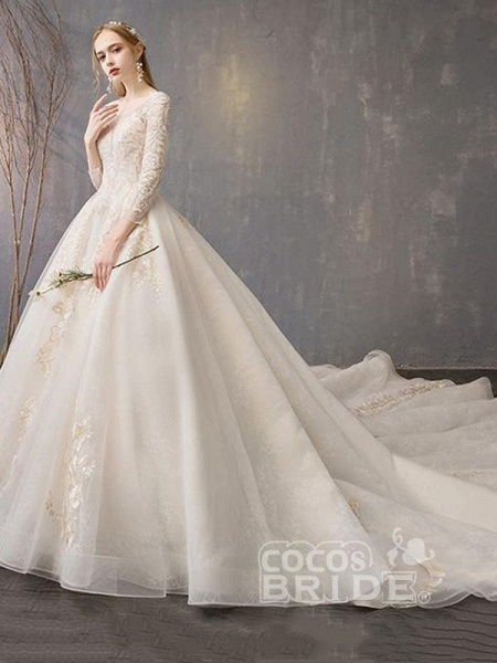 Long Sleeve Lace-Up Applique Ball Gown Wedding Dresses_3