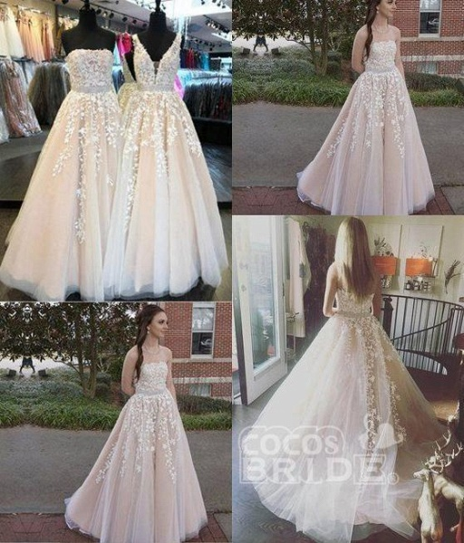 Custom-made Lace Appliques Tulle Long Wedding Dress_6