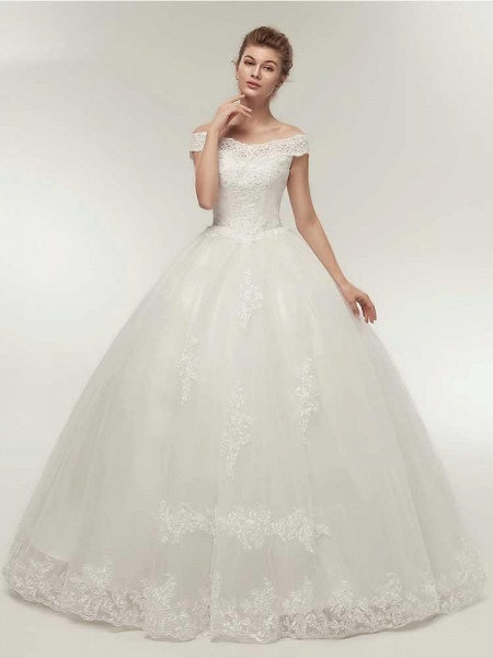 Gorgeous Off-the-Shoulder Lace Ball Gown Wedding Dresses_1