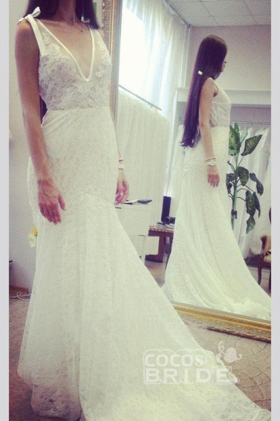 Neck Sleeveless Mermaid Gown With Deep V Back Long Lace Wedding Dress_2