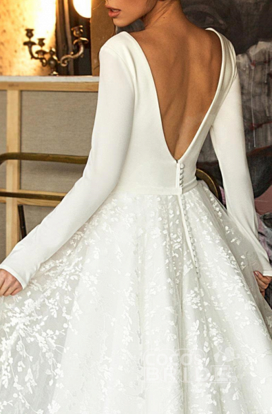 Elegant V-Neck Covered Button A-Line Wedding Dresses with Long Sleeves_4