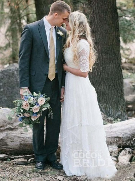 Elegant Half Sleeves V-neck Lace Boho Wedding Dress_3