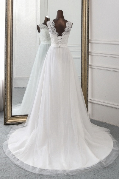 Elegant Long A-line Jewel Tulle Wedding Dress with Appliques Lace_2