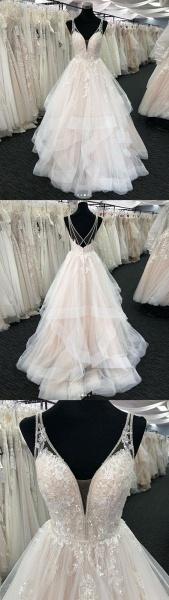 White Tulle V Neck Open Back Long Layered  Wedding Dress_4