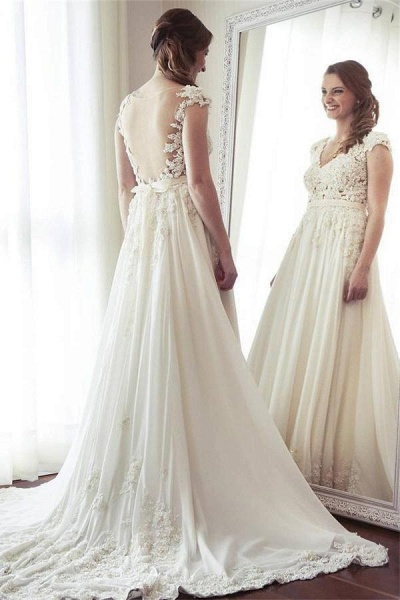 Charming Long Ivory Chiffon V-neck Elegant Beach Wedding Dress_1