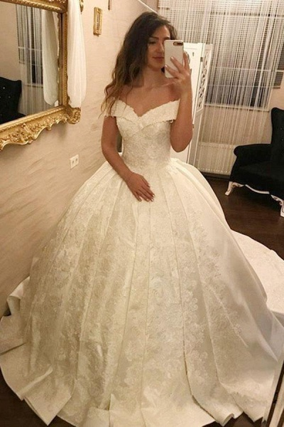 Ivory Ball Gown Off-the-Shoulder Pleated Satin Lace Appliques Wedding Dress_1