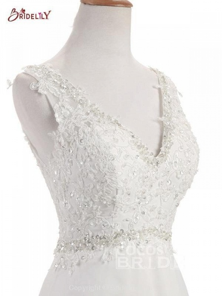 Elegant V Neck Lace Chiffon A-Line Wedding Dresses_6