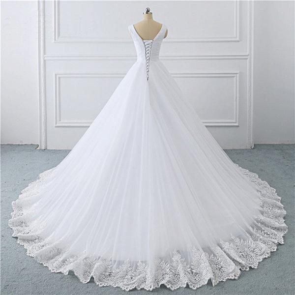 Unique White Lace V Neck Puffy Sweep Train Wedding Dress_2