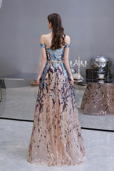 Off-the-Shoulder Sequins Long Multi-Color Prom Dress_10