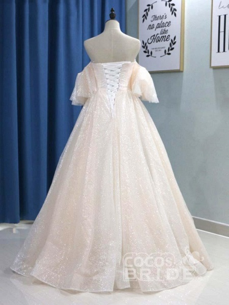 Off-the-Shoulder Half Sleeves Ball Gown Wedding Dresses_2