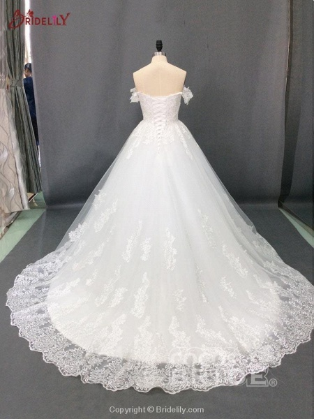 Glamorous Off-the-Shoulder Beads Ball Gowns Wedding Dresses_4
