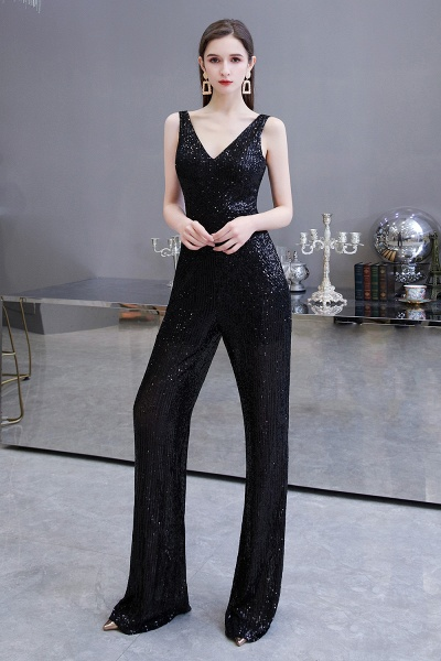 Sexy Shining V-neck Sleeveless Prom Jumpsuit with Silver Sequins_13