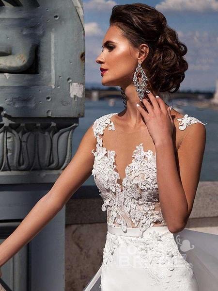 Popular Appliques Sweep Train Mermaid Wedding Dresses_4