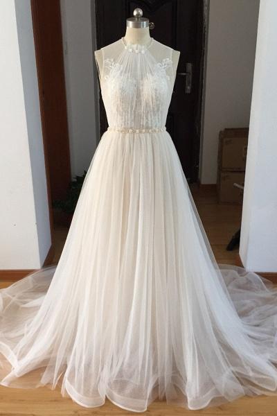 White Tulle Beaded Long Beaded Lace Wedding Dress_1