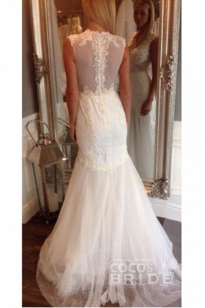 Ivory V Neck Sleeveless Mermaid Long Tulle Wedding Dress_2