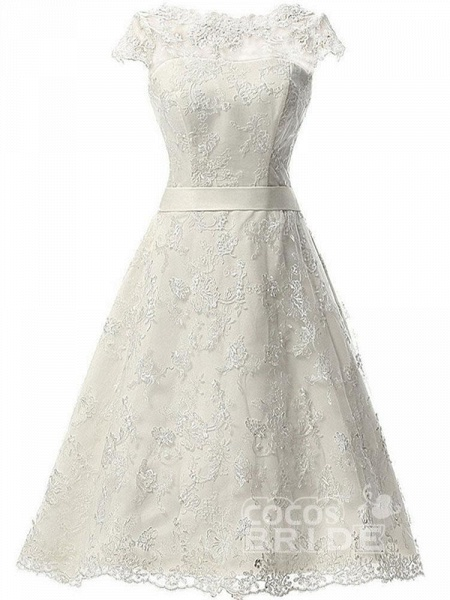 Glamorous Cap Sleeves Covered Button Ribbon Wedding Dresses_2