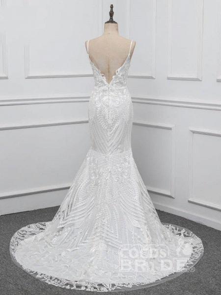 Elegant Spaghetti-Strap Backless Mermaid Wedding Dresses_3