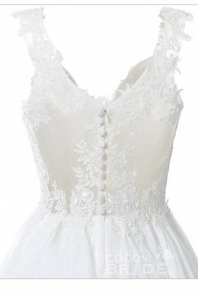 Straps V Neck Illusion Chiffon Beach Gown Cheap Wedding Dress_7
