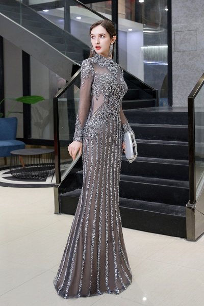 Long Sleeve Mermaid Sequins High-Neck Evening Gowns_3