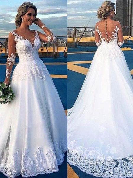 V-Neck Long Sleeves Covered Button Ball Gown Wedding Dresses_3