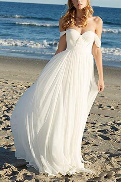 Flowy Off the Shoulder Chiffon Beach Simple Long Pleated Wedding Dress_1