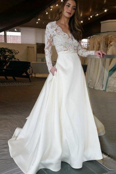 V Neck Long Sleeves Ruffles Wedding Dresses_1