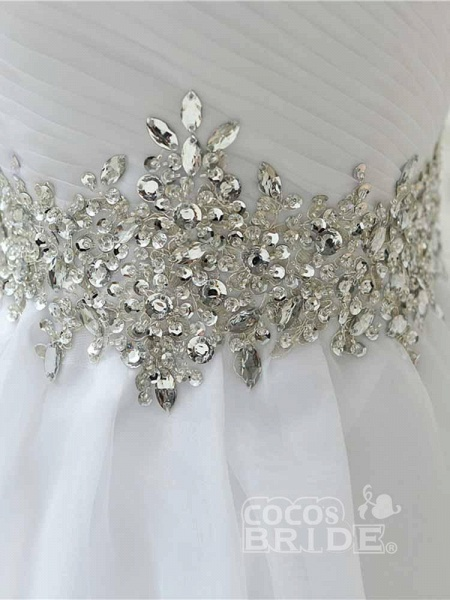 Perfect Sweetheart Lace-Up Ruffles Sash Wedding Dresses_5