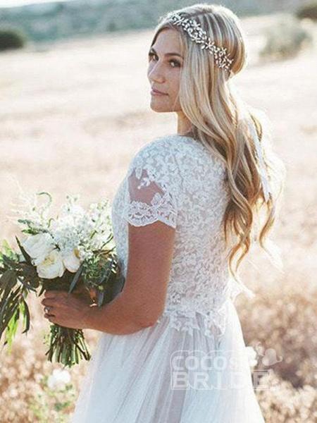 Elegant Short Sleeves Lace Tulle Wedding Dresses_5
