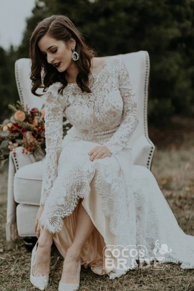 Vintage Long Sleeves Backless Rustic Lace Wedding Dress_2