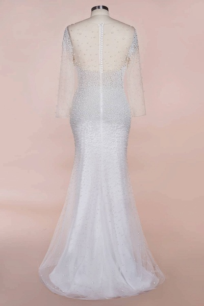 Precious Long Sleeve Beading Sheath Wedding Dress_8