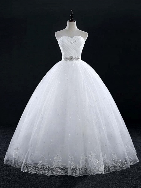 Sweetheart Lace Ball Gown Wedding Dresses_1