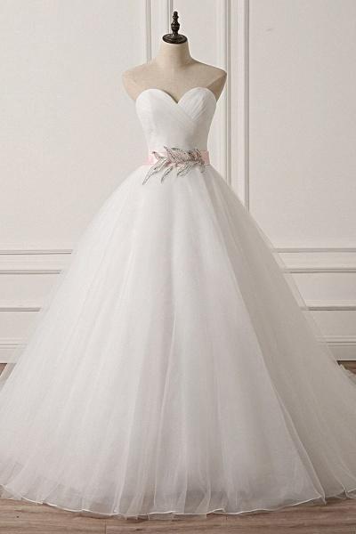White Tulle Backless Long Beaded Applique Long Wedding Dress_1