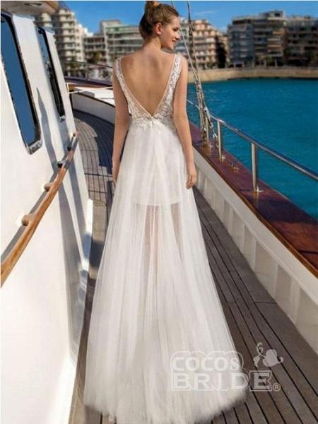 V Neck Sleeveless Backless Boho Wedding Dresses_2