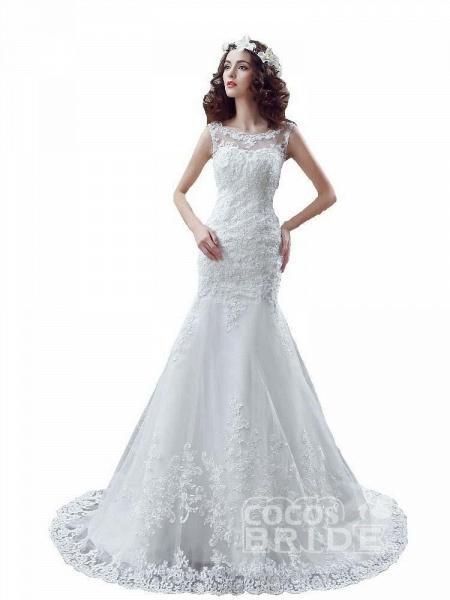 Elegant Beaded Tulle Mermaid Wedding Dresses_6