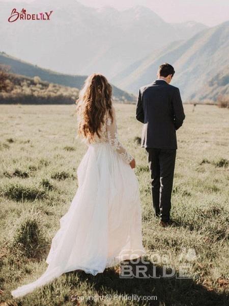 Beach Boho Wedding Dresses with Long Sleeve_5