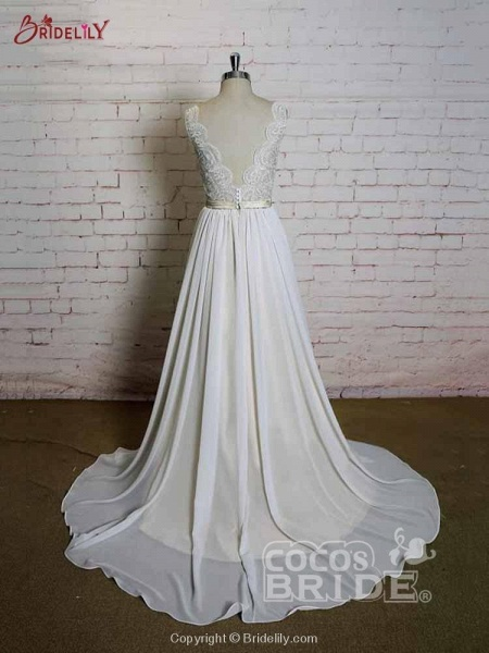 Modest Lace Chiffon A-Line Wedding Dresses_4