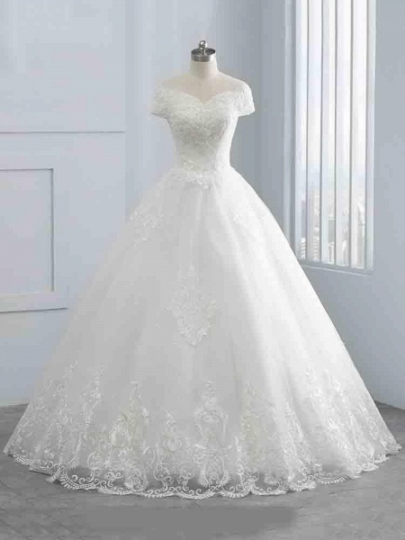 Gorgeous Cap Sleeves Sequins Lace-Up Ball Gown Wedding Dresses_1