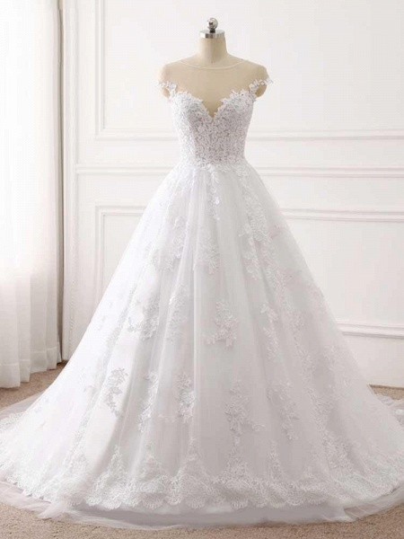 Lace Appliques Ball Gown Wedding Dresses_1