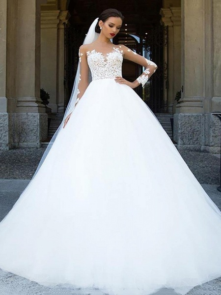 Long Sleeves Lace Ball Gown Tulle Wedding Dresses_1
