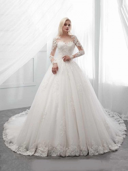Long Sleeves Lace Ball Gown Wedding Dresses_1