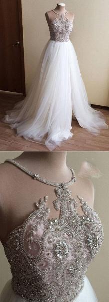 White Tulle Crystal Beaded Wedding Dress_4
