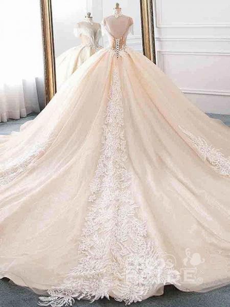Elegant High Neck Tassel Sleeves Ball Gown Wedding Dresses_2
