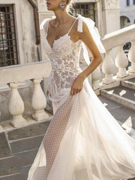 Spaghetti Straps Illusion Lace Backless Boho Wedding Dresses_1