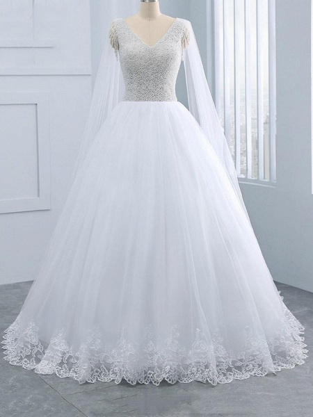 Beautiful V-neck Pearls Princess Wedding Dresses_1