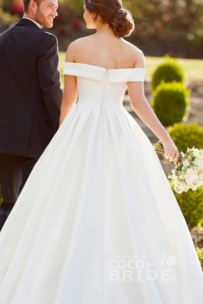Simple A-Line Off the Shoulder Button Covered Long Cheap Wedding Dress_2